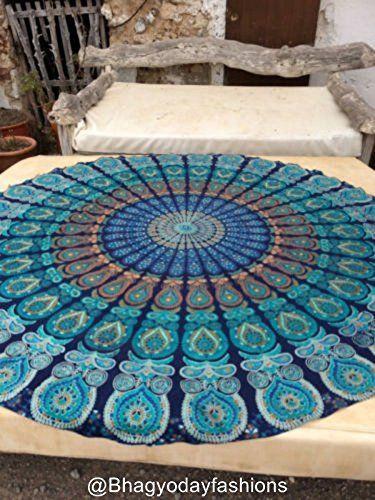 Round Meditation Yoga Mat Mandala Beach Throw Roundie Cot