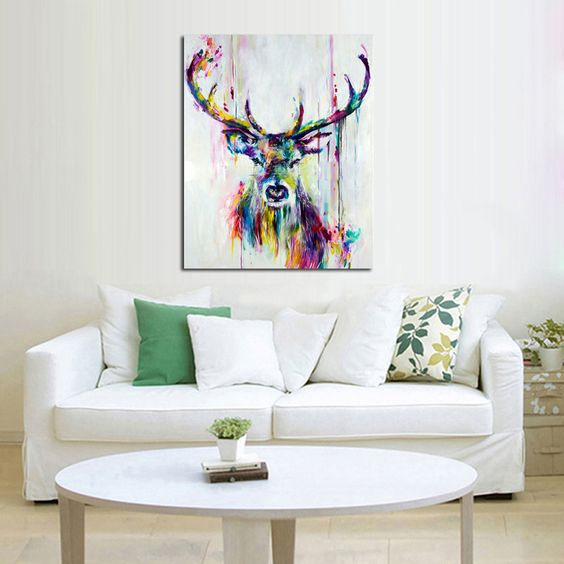 Handpainted oil painting on canvas wall pictures deer wall for Abstract salon of the arts