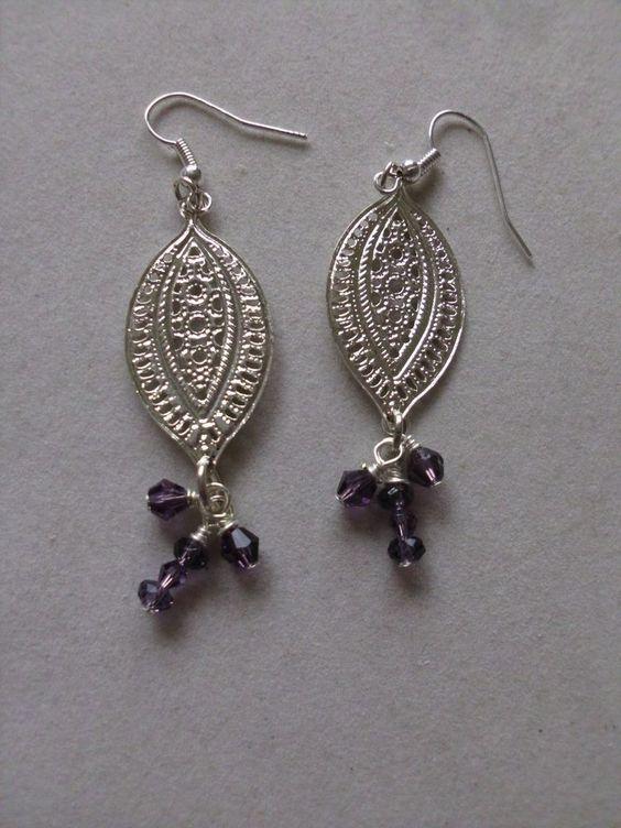 Aluminum Silvertone Frame w/Small Purple Beads Pierced Dangle Earrings (New) #DropDangle