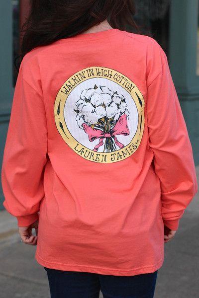 LAUREN JAMES: Walkin' in High Cotton Tee {Deep Sea Coral}   The Fair Lady Boutique