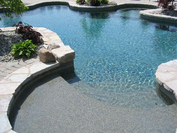 Tanning ledge yards and pools pinterest pools in for Pool design with tanning ledge
