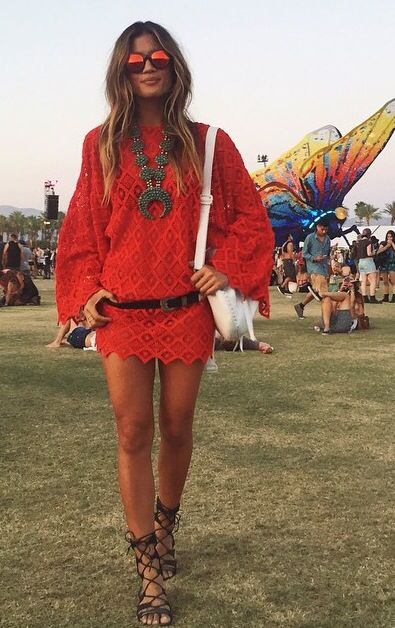 Another gorgeous red lacy frock at Coachella. This one worn by the impeccable Rocky Barnes. Love the shoes!: