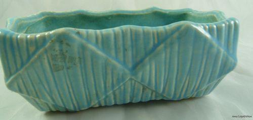 Vintage Aqua Blue McCoy Rectangular USA Pottery Planter Flower Pot Vase   eBay