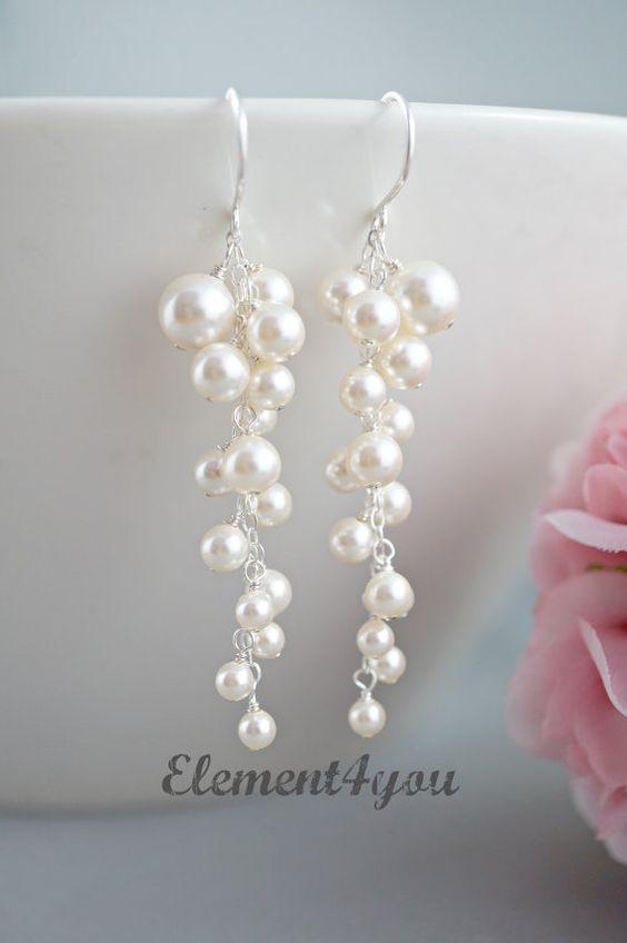 Perle Hochzeit Ohrringe. Braut Ohrringe. Anweisung von Element4you
