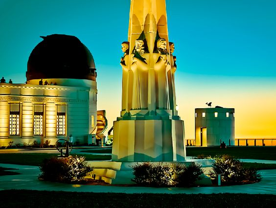 Griffith Observatory at night.
