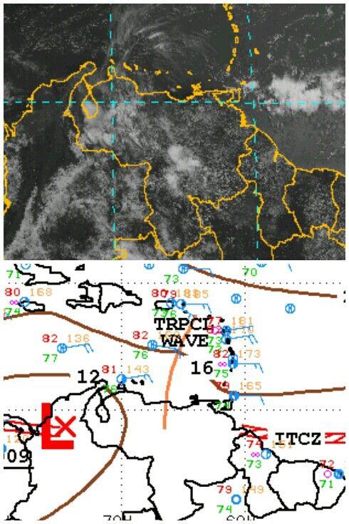 Onda Tropical No.23 localizada al Norte de Venezuela. Nubosidad preonda asociada al Occidente y Andes.