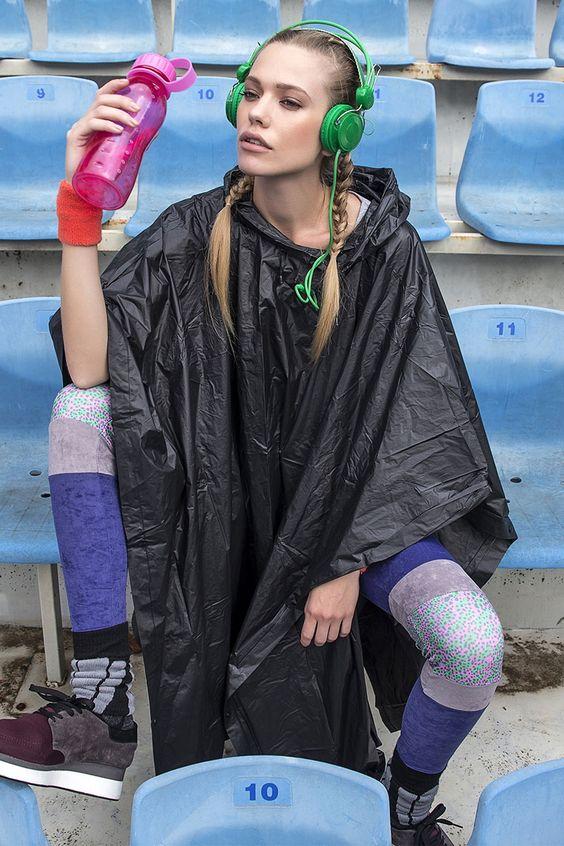 'Cintia' Purple Leggings W/ Grey & Print Details