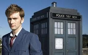 He looks so serious with the TARDIS in the background