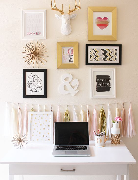 pink and gold office gallery wall: