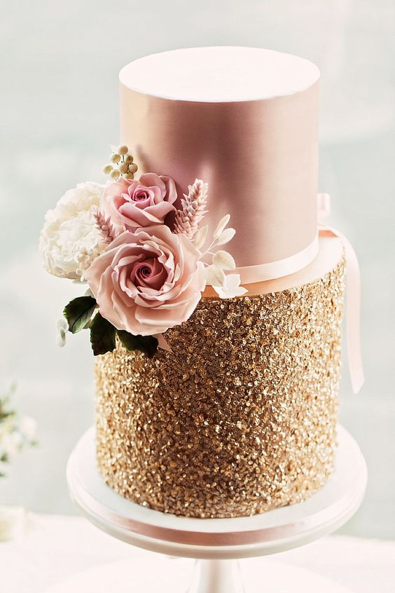 Gold & Pink Wedding Cake By Mama Cake