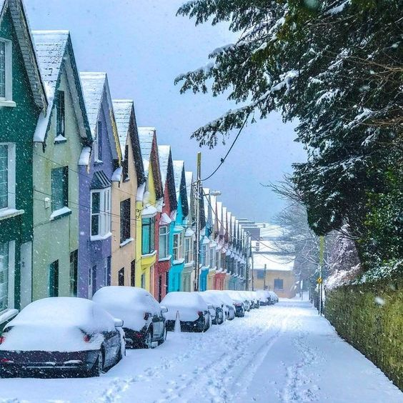 19. A snowy street in Ireland