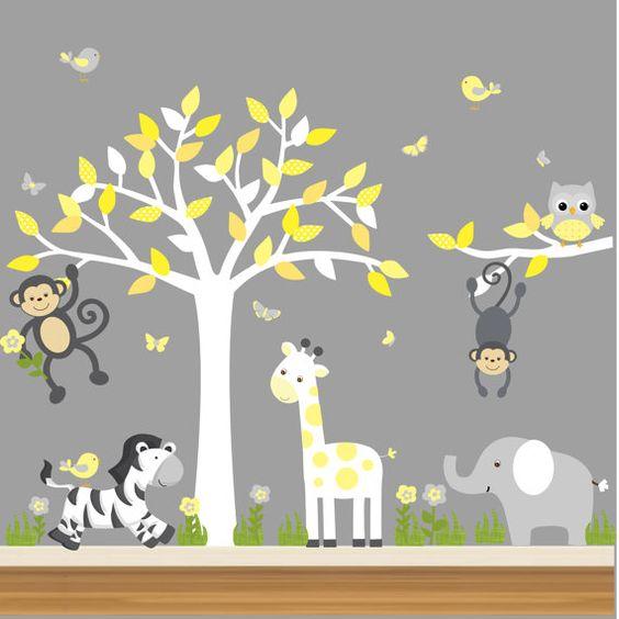 Jungle Nursery Decal, Nursery Tree Decal, Jungle Animal Decal - Monkeys, Zebra, Giraffe, Elephant - C01 on Etsy, $30.00