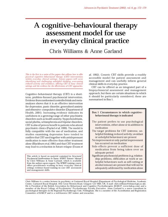 8 best CBT - The Five Areas Model Article #1 images on Pinterest - psychosocial assessment