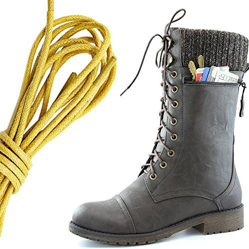 Women's Combat Style Lace up Ankle Bootie Round Toe Military Knit Credit Card Knife Money Wallet Pocket Boots Yellow