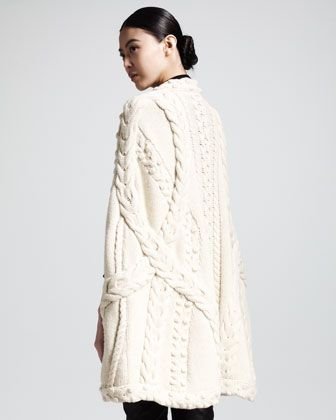 Alexander McQueen Mixed-Knit Cape, Mock-Neck Sweater & Skinny Suede/Leather Pants - Neiman Marcus