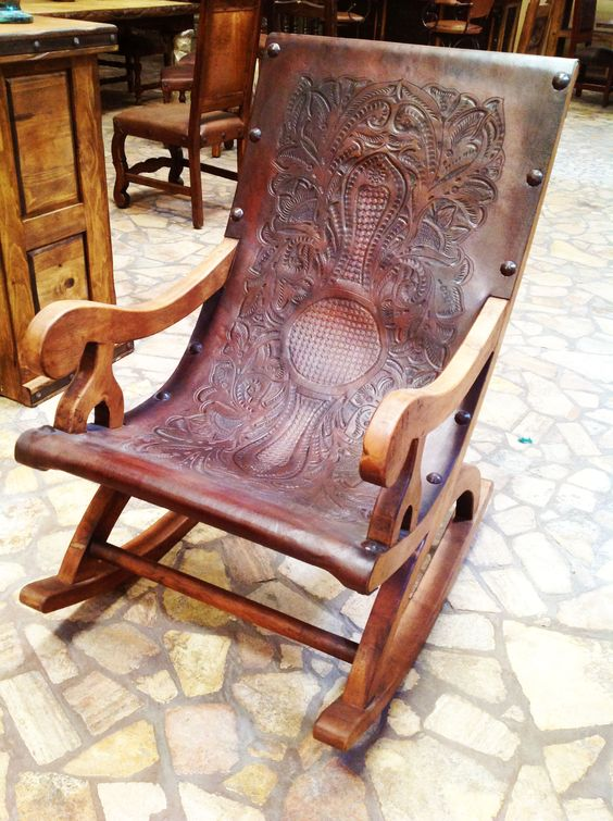 Hand tooled leather and hand-carved solid wood chair by The Rustic Gallery of San