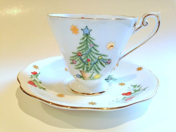 Royal Standard Tea Cup and Saucer, Christmas Cup, Holiday Cup and Saucer, Tea…