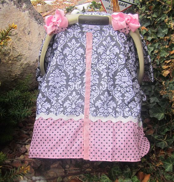 Pink and Grey Damask Car seat canopy RTS by SooShabbyChic on Etsy, $36.99