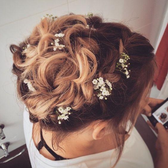 Messy braid updo With a touch of flowers   תסרוקת אסופה מרושלת עם נגיעה של פרחים yafit koresh  054-4536769
