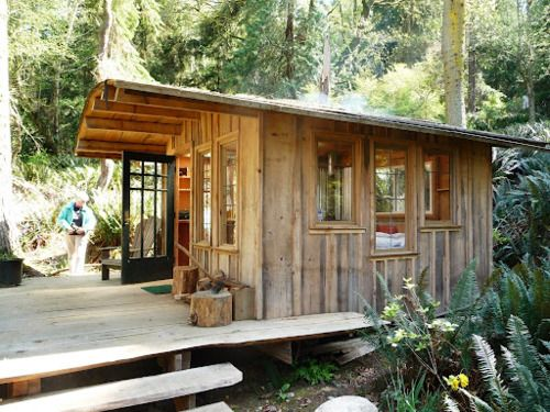 Decks wood cabins and house on pinterest for Board and batten cabin plans