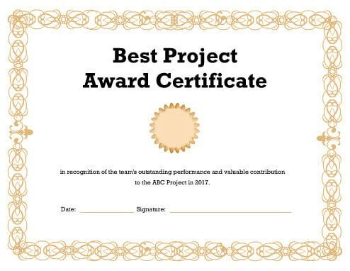 Download Free Template Awards Certificates Template Certificate