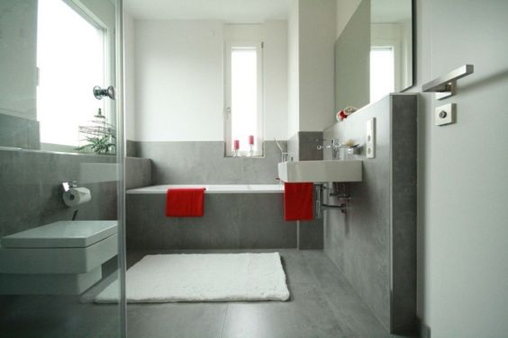 Interieur peintures murales and design on pinterest - Salle de bain sol gris mur blanc ...
