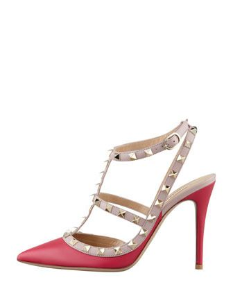 Rock-stud Two-Tone Pink and Nude Slingback Sandal by Valentino  #shoes #studs