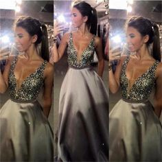 Long Custom Charming V-neck Sexy Popular A-line Sparkly Ball Gown Prom Dress,PD0095