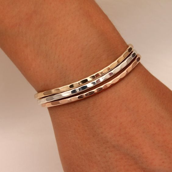 Thin Hammered Cuff Bracelets, Gold, Rose Gold, Silver by DavidSmallcombe on Etsy