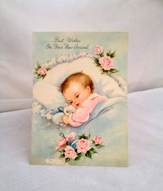 vintage 1960s Baby Card  Best Wishes On Your New by dollyjayne