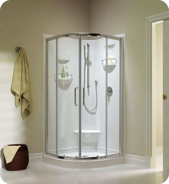 Neptune 20 11336 1040 10 Izia Iz36 36 1 4 Corner Neo Round Shower With Built In Footrest With Finish White And Shower Walls And Bases 1 Piece In 2020 Neo Angle Shower Enclosures Shower Wall Bathroom Shower Enclosures