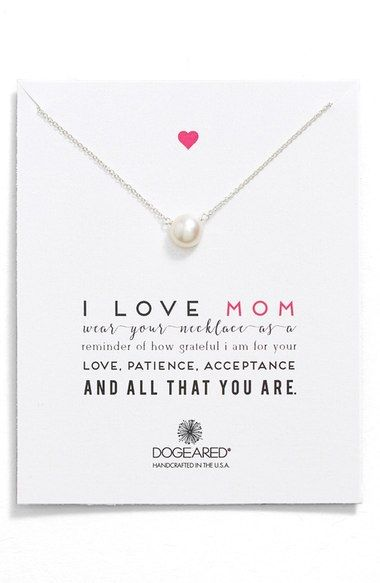 sweet pearl 'I love mom' necklace