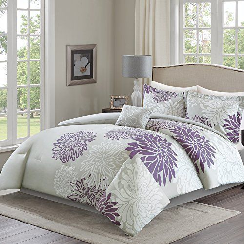 5 Purple Grey Comforter Set Full Queen Floral Pillowcases Bed