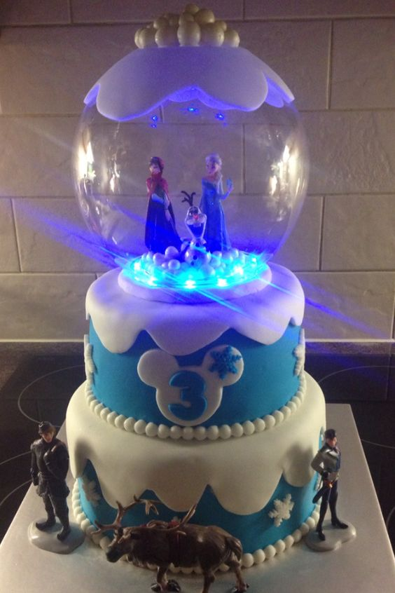 Homemade Disney Frozen Birthday Snow-globe Cake with Elsa, Anna and Olaf Figurines and Lights