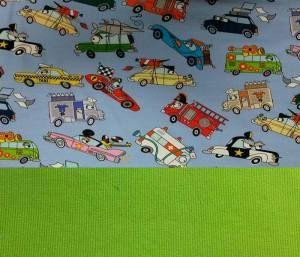 Set Jersey lustige Autos hellblau+Bündchen