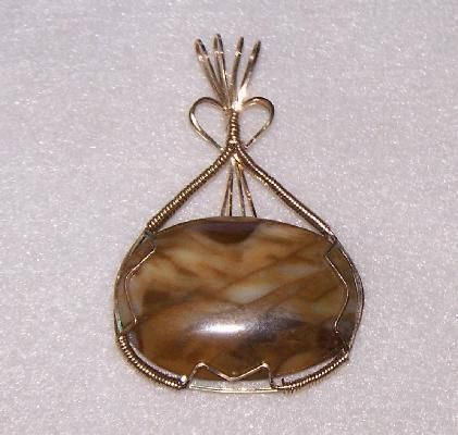 FREE S - Pendant - Wire Wrapped Picture Jasper in Gold - A JewelryArtistry Original - P92       $45.98