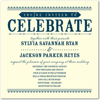 Come Celebrate - wedding paper divas