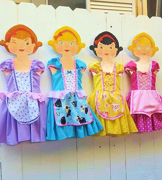4 piece PRINCESS DRESS UP Set including Cinderella dress Rapunzel dress Belle dress and Sleeping Beauty dress pretty practical princess by loverdoversclothing on Etsy