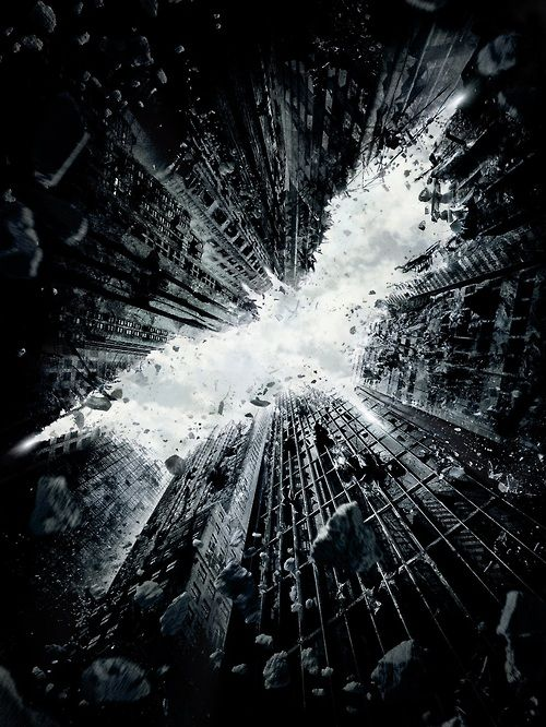 Exploding buildings @s Batman logo