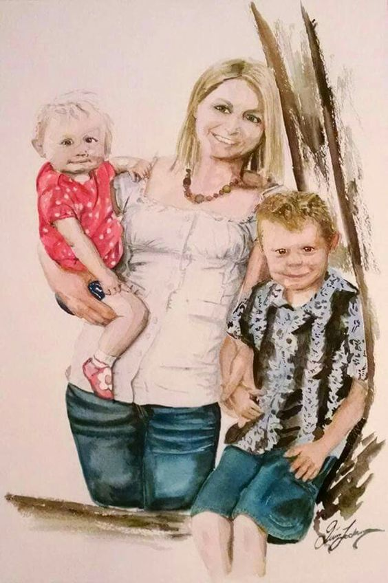 """12×18"""" family portrait. Commissioned watercolour painting. August 23, 2015 by Quinn Lockman"""