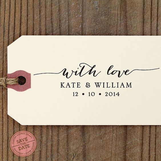 """With Love CUSTOM SELF INKING stamp - Eco Friendly - wedding favors, thank you cards, with love, personalized stamper """"Calligraphy 80"""""""