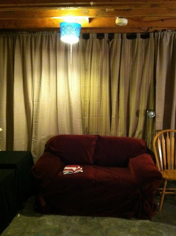 Storage area after - used clearance curtains and repurposed ...