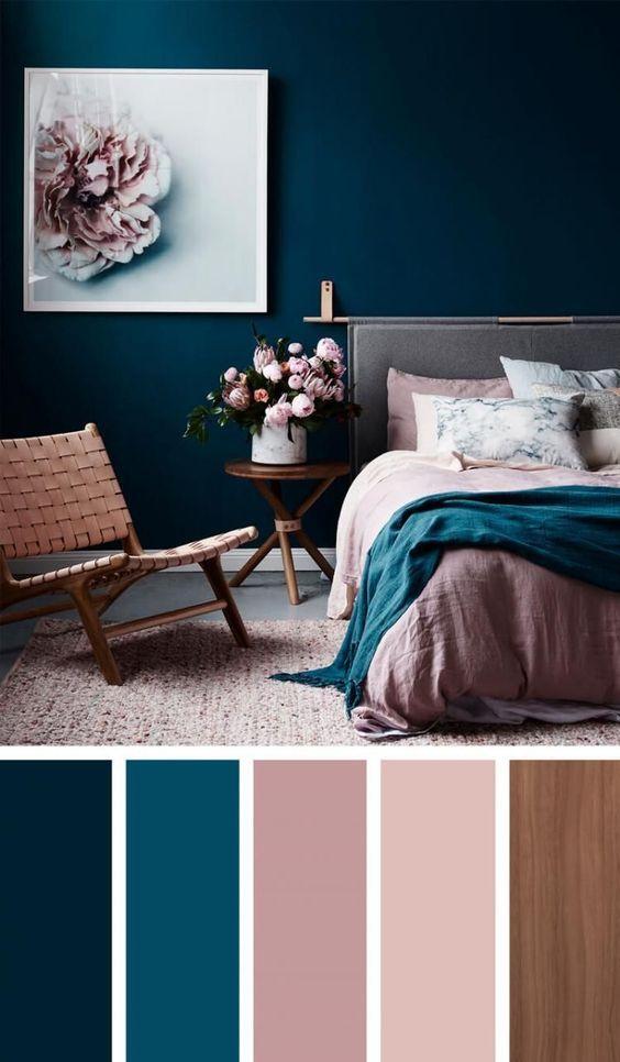 Dark blue Scandinavian bedroom with pink details and flowers ...