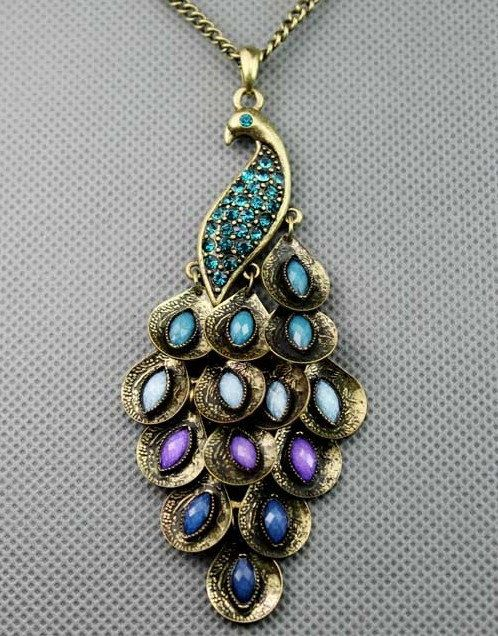 An antique peacock necklace - beautiful colors and shape