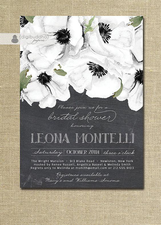 Chalkboard floral bridal shower invitation black white for Elegant bridal shower invitations
