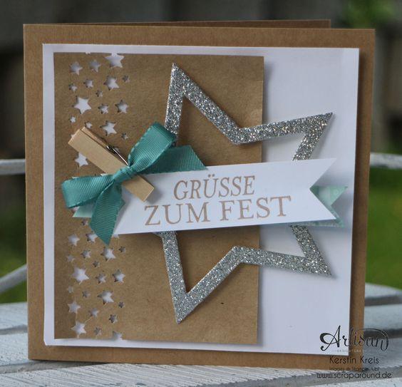 """Stamping & Blogging DT Sketch74 Karte """"Grüße zum Fest"""" mit Kraft-Cardstock und Glitzerten Detailbild1"""