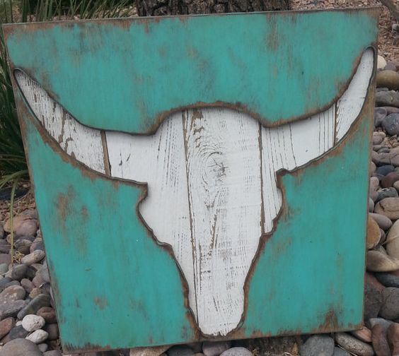 Cow Skull Vintage Plank...24 Western Home by AmericanVintageInc, $69.00