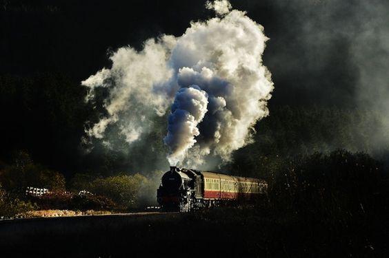 Locomotivas a vapor viram obras de arte