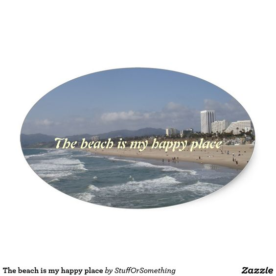 The beach is my happy place oval stickers