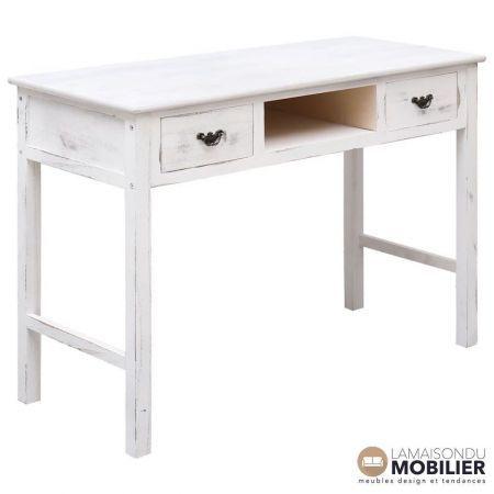 Table Bureau Bois De Peuplier Blanc Patiné Erwin Table Console Blanche Console Blanc Console Style